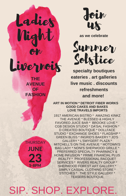 More than 30 Avenue of Fashion businesses will celebrate the Summer Solstice with Ladies Night Out. Join us for this joyous welcome to the summer season!