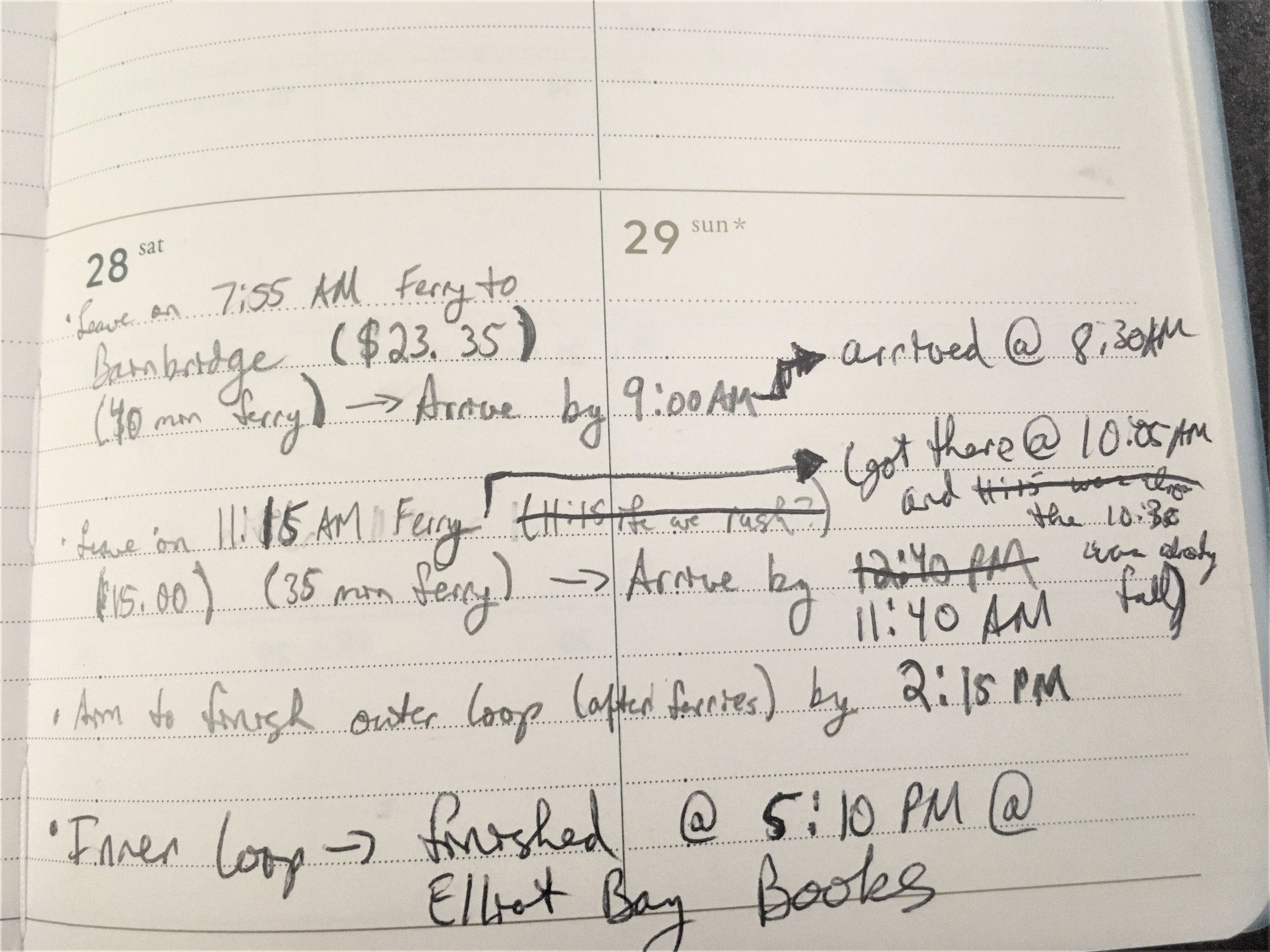 My incredibly basic timeline from last year, with notes added throughout the day. It's proof that you don't have to make your timeline super neat or complicated in order for it to be useful.