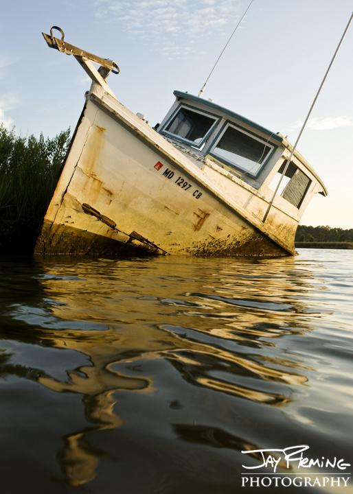 Derelict workboat. Lower Dorchester County, Maryland