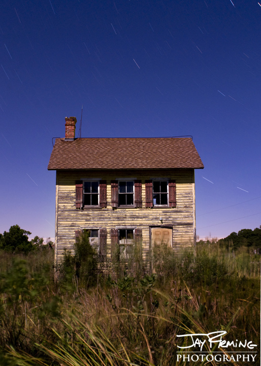 Abandoned home lit by the full moon. Crocheron, MD. October 2014