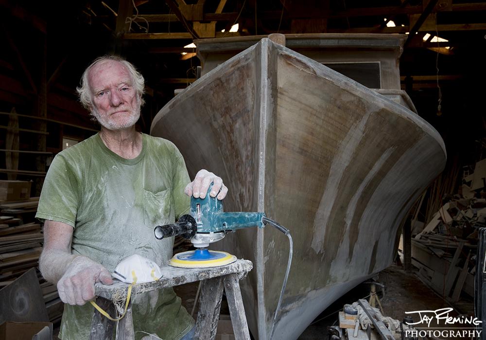 Millard Littlepage and his workboat 'Last One'. Crocheron, Maryland