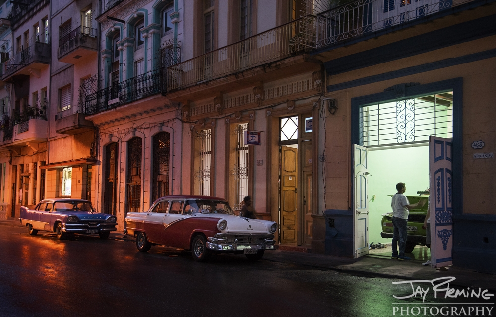 Street scene at twilight in Central Havana after a brief rainfall