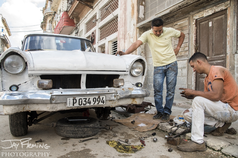 Keeping 50+ year old cars on the road with limited access to parts and tools requires creativity and determination. Calle Virtudes, Central Havana