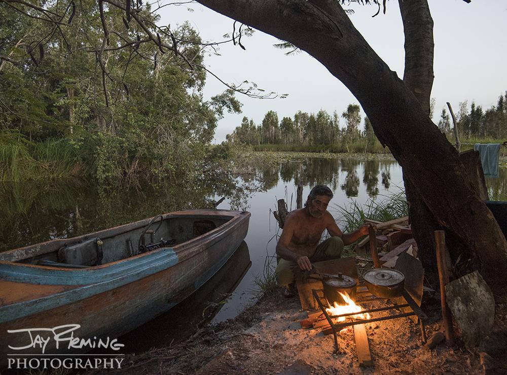 Fishing camp on Laguna del Tesoro