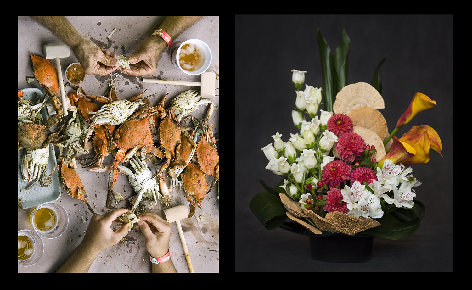 """The Annapolis crab feast photograph was interpeted by Gail Willin of Four Seasons Garden Club and demonstrated the """"Grouped Mass"""" design."""