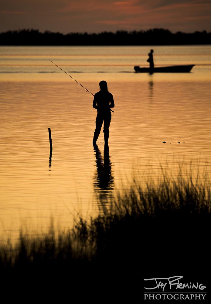 Wade fishing at sunset in Pine Island Sound near Pineland, Florida