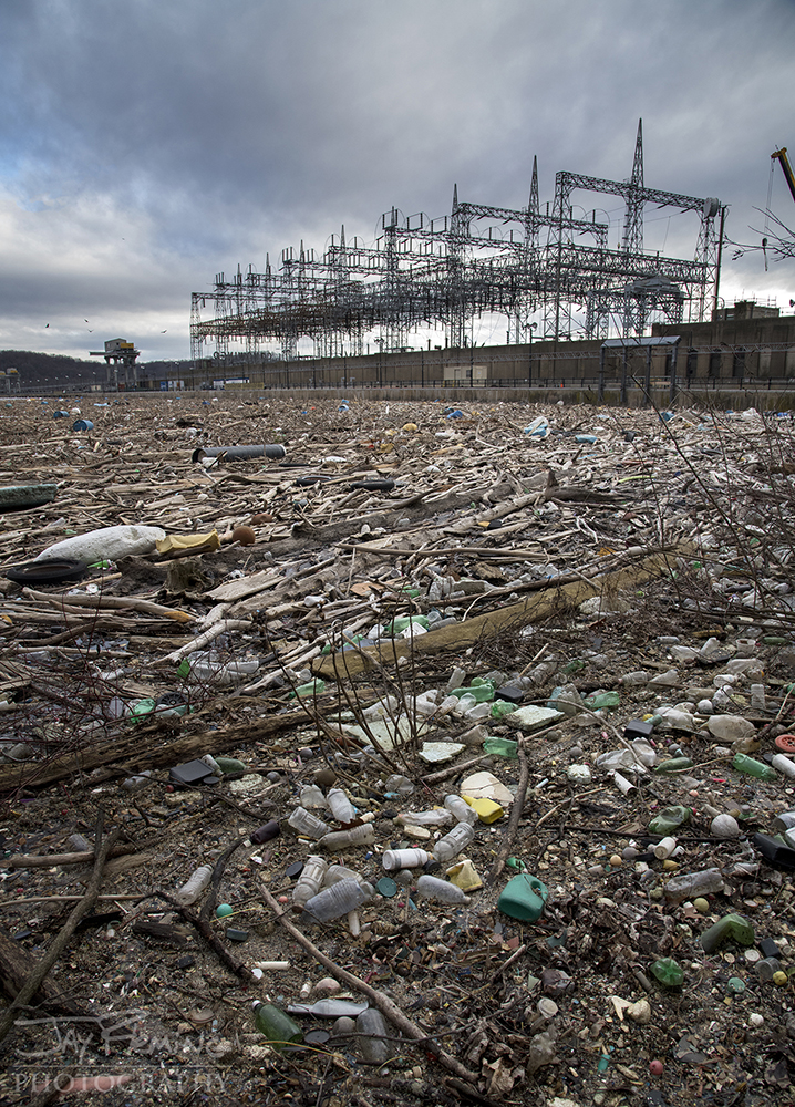 Trash accumulating behind Conowingo Dam in the Conowingo Reservoir.