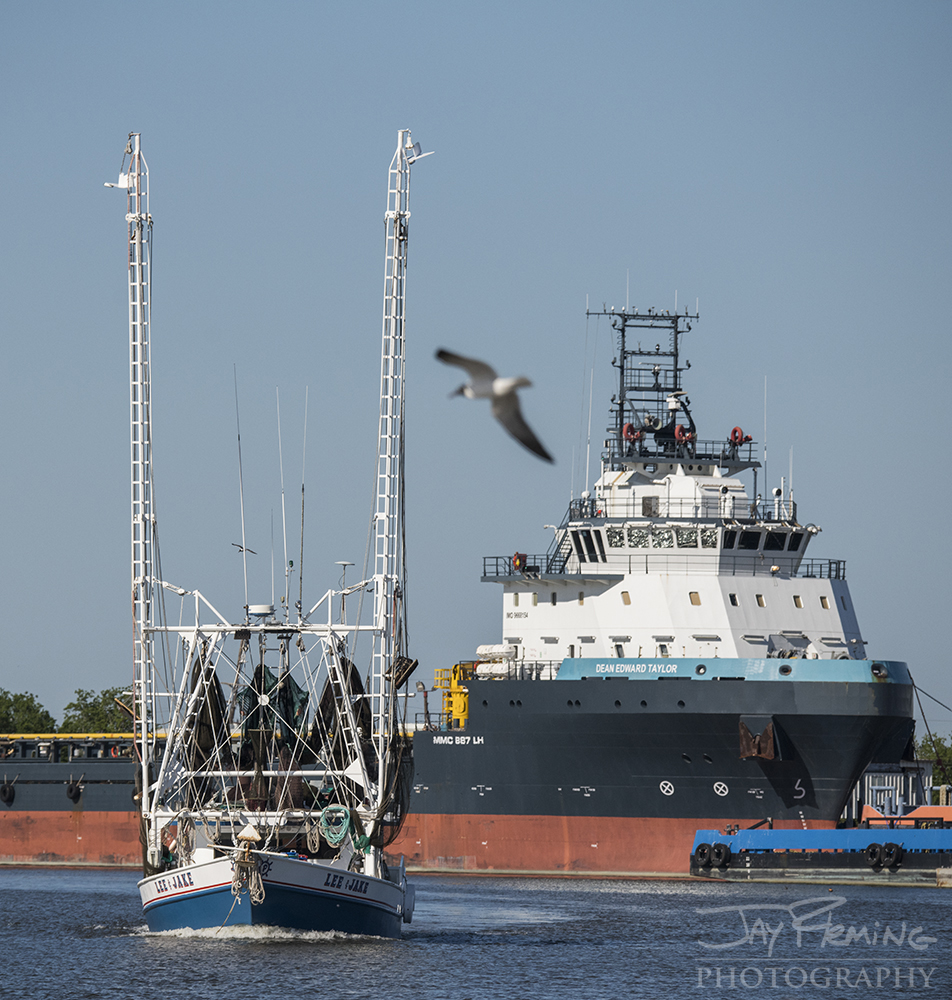 Lee and Jake  -an offshore Shrimp Trawler, leaving Dulac is dwarfed by the offshore supply ship  Dean Edward Taylor. This ship brings crew and other supplies to the offshore oil rigs in the Gulf of Mexico.