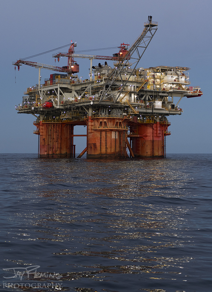 A floating oil rig nearly 150 miles offshore in the Gulf of Mexico.