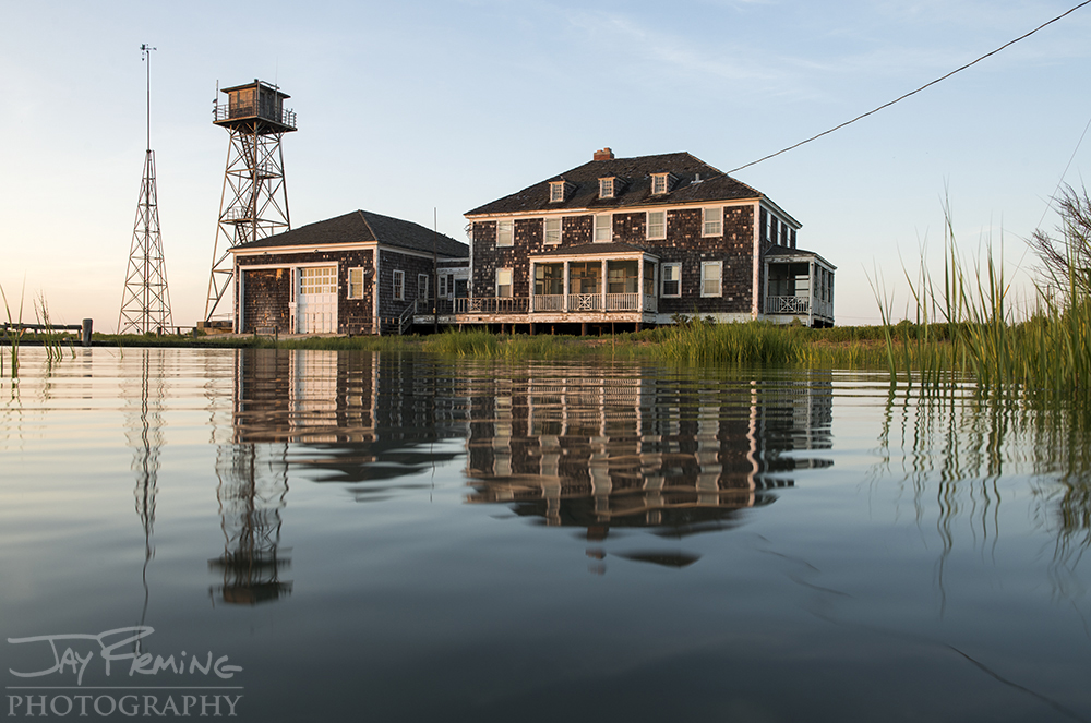 The decommissioned Coast Guard station on Cedar Island, now privately owned, is an icon to the Barrier Islands. The Coast Guard station is the last remaining structure of dozens that once stood on the island.