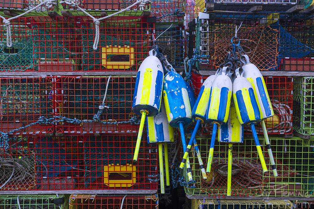 Colorful lobster gear on the wharf at Matinicus Island.