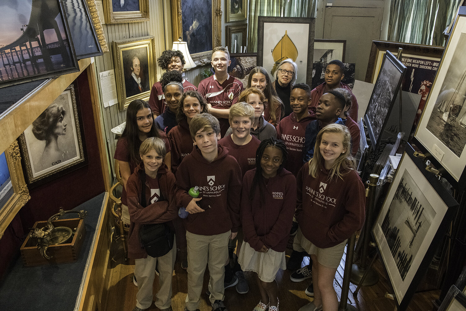 Students with  Katherine Burke  of the  Annapolis Collection Gallery .