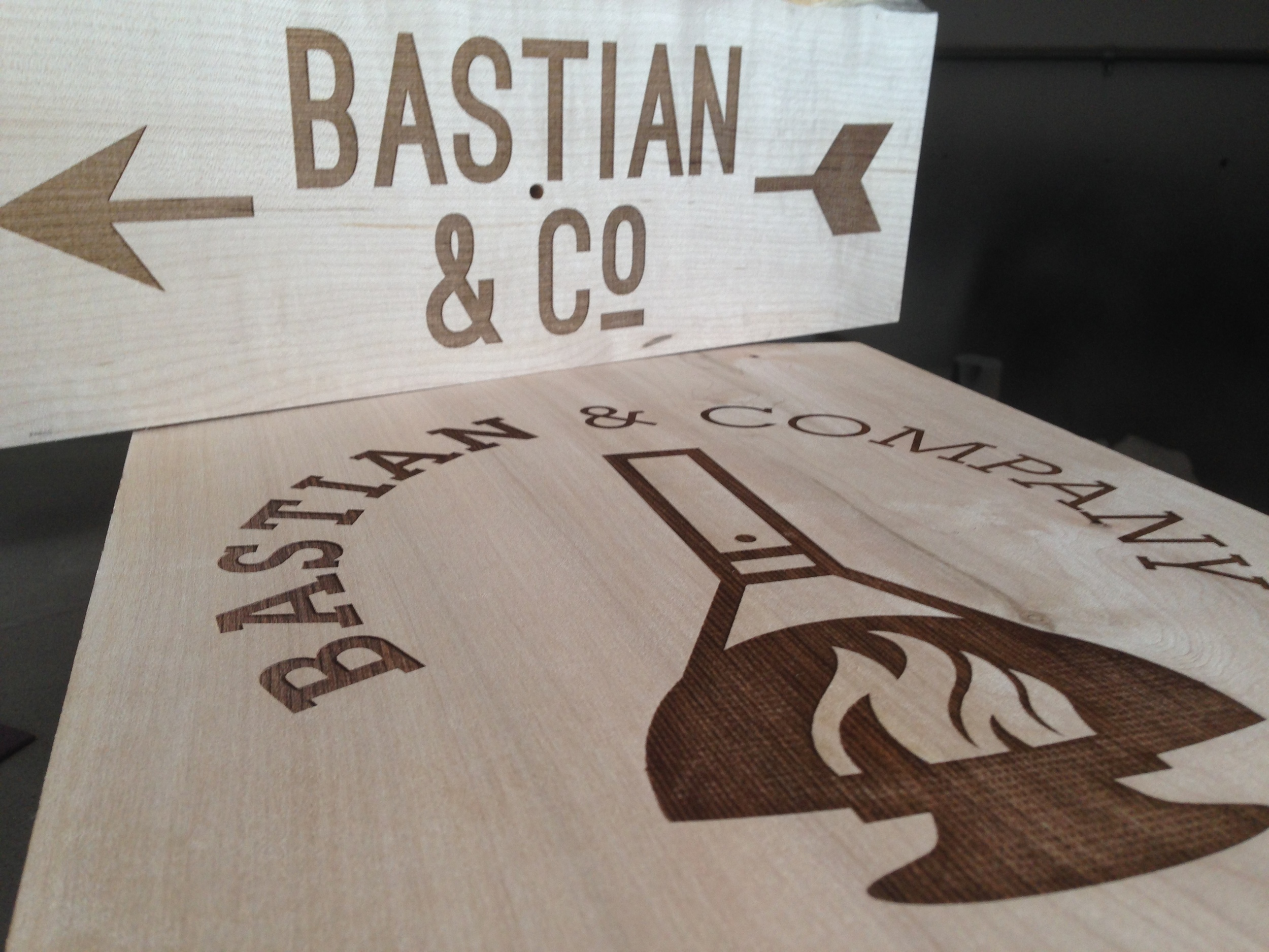Bastian & Co. Sign, Walnut
