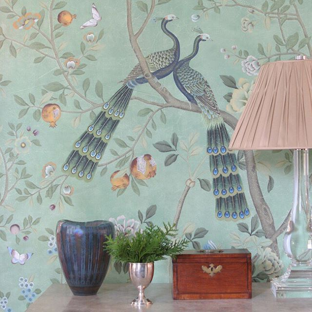 This beautiful DeGournay wall-covering, from the St  Laurent Collection, is part of a test vignette for a special client.  It is hand-painted on custom blue India tea paper, and will be installed in the next few weeks. @degournay @ainsworthnoah