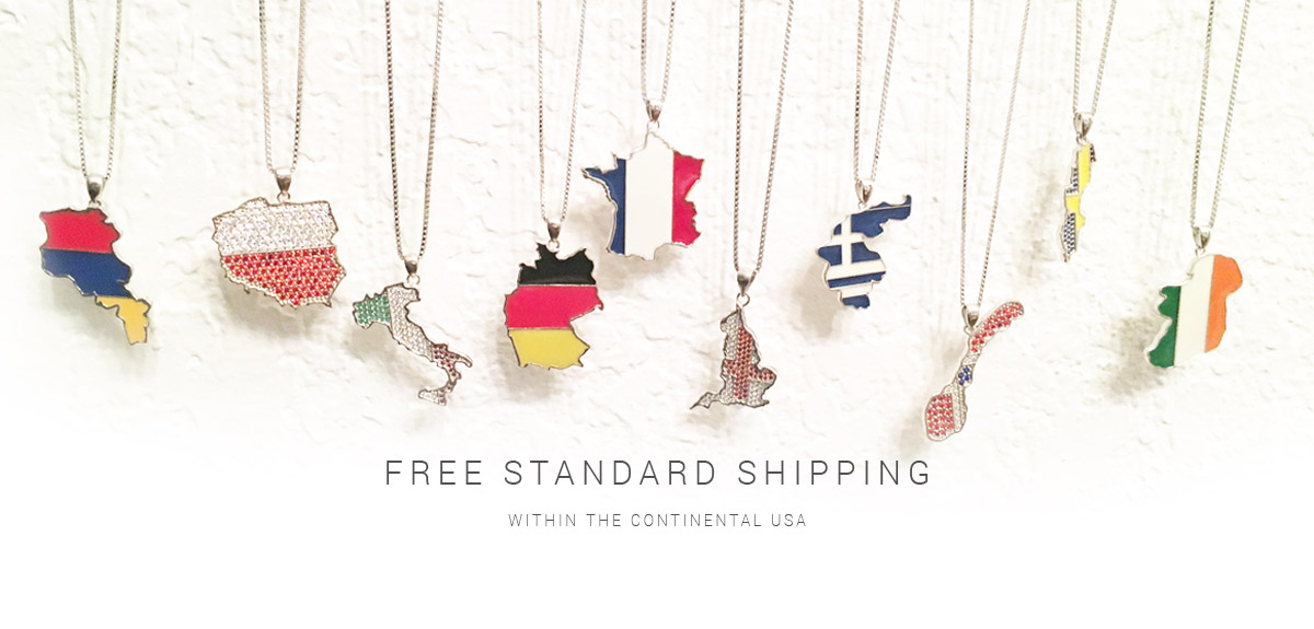GCJ Country Pendant Necklace Free Standard Shipping