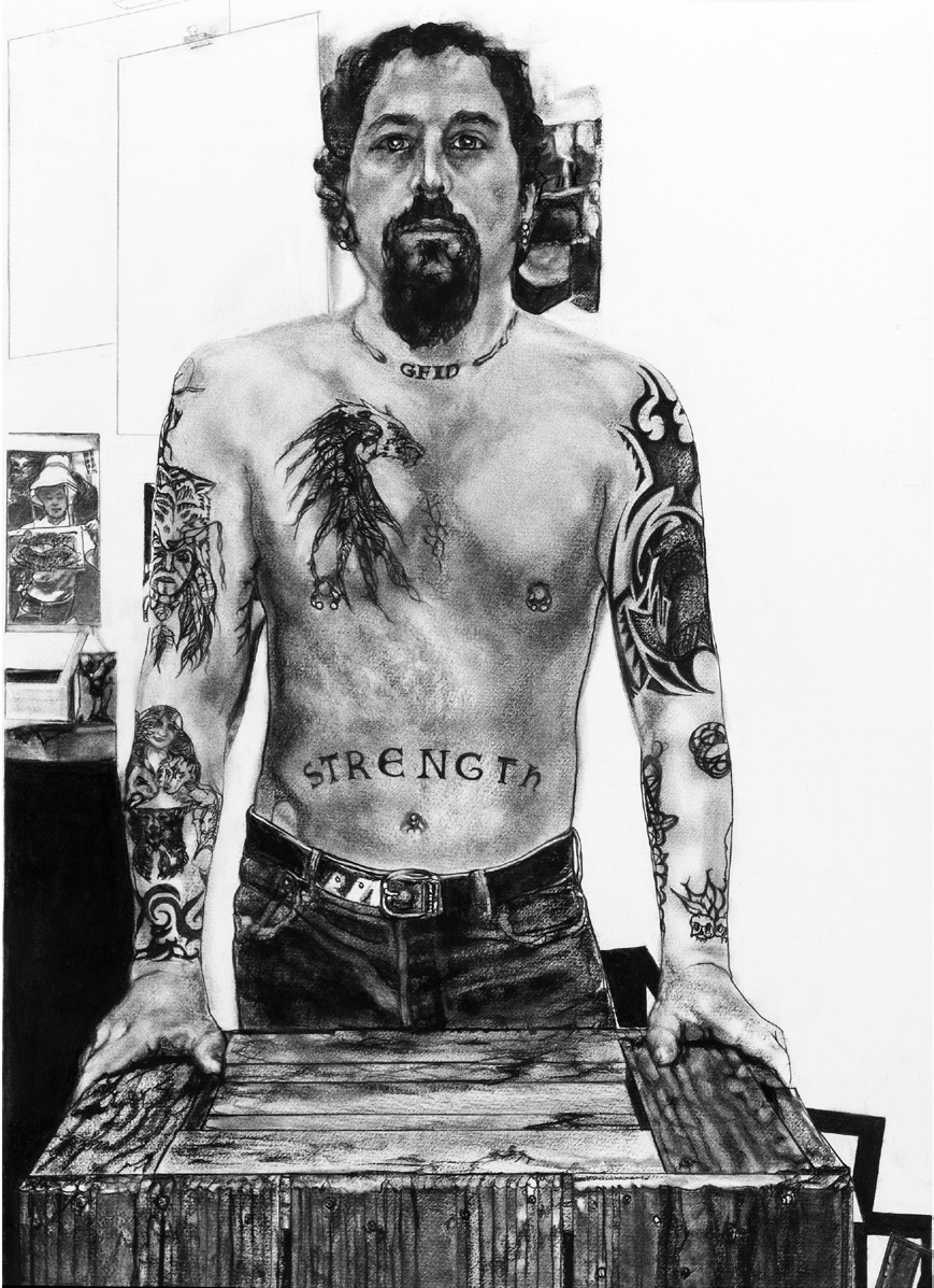 Jay Showing His Ink, charcoal on rag paper
