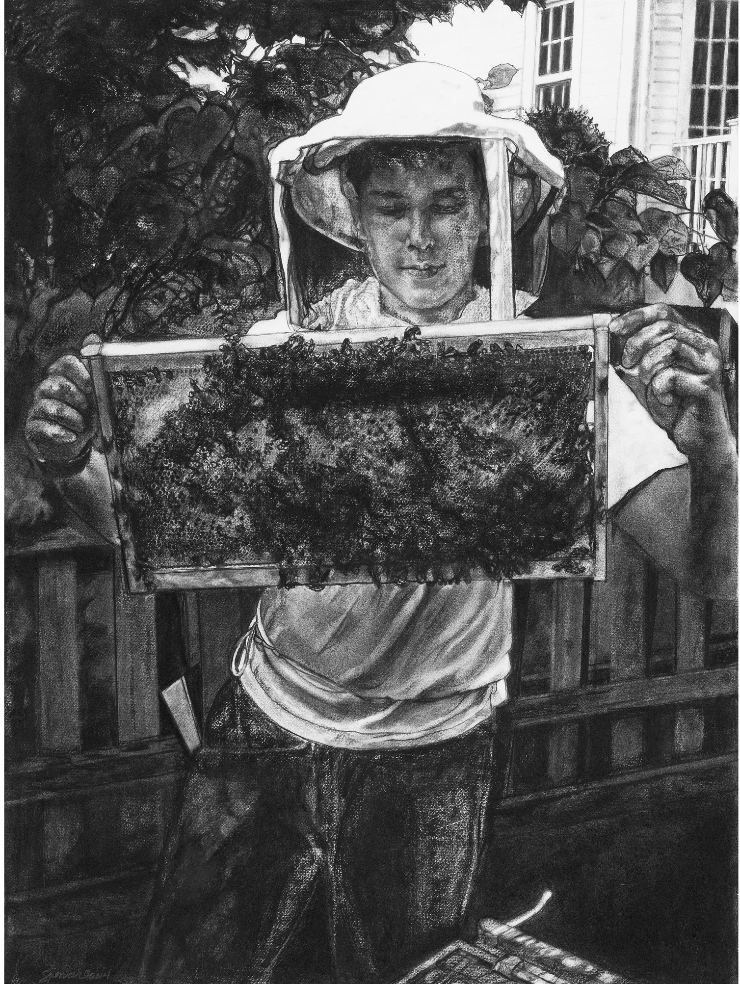 Seth with Honey Bees,  charcoal on rag paper