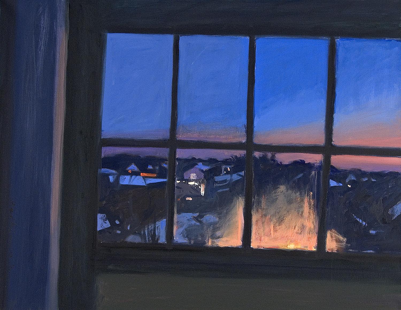 Roy Perkinson, Studio Window at Night , oil.