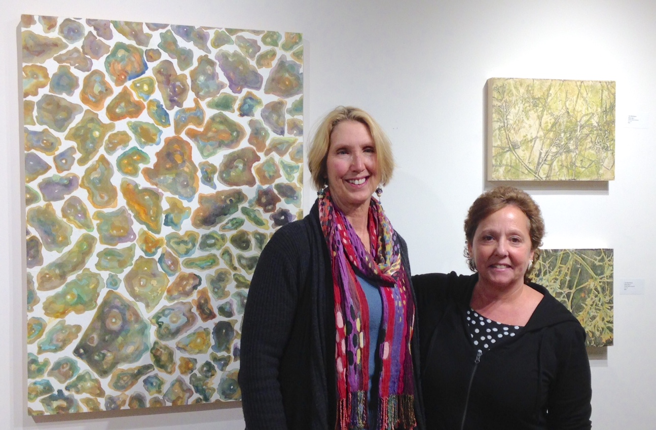 Lisa Barthelson and Kay Hartung in front of Lisa's work.
