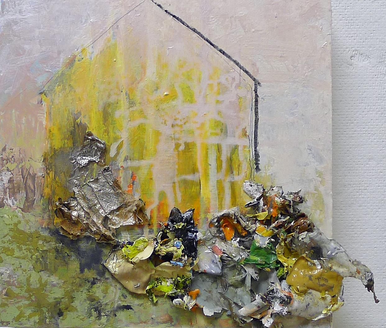 Brenda Cirioni,Barn Series: Shed, mixed media, 8x8, $600