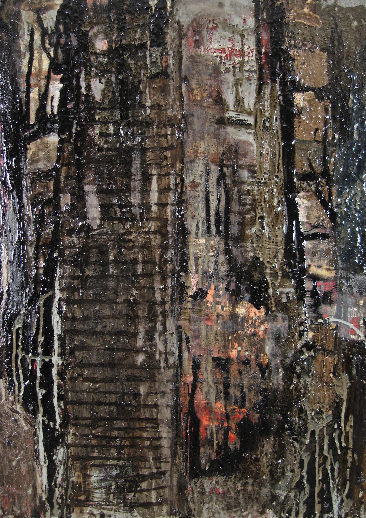 Leslie Zelamsky, Deluge, mixed media, 25x18, $1,250