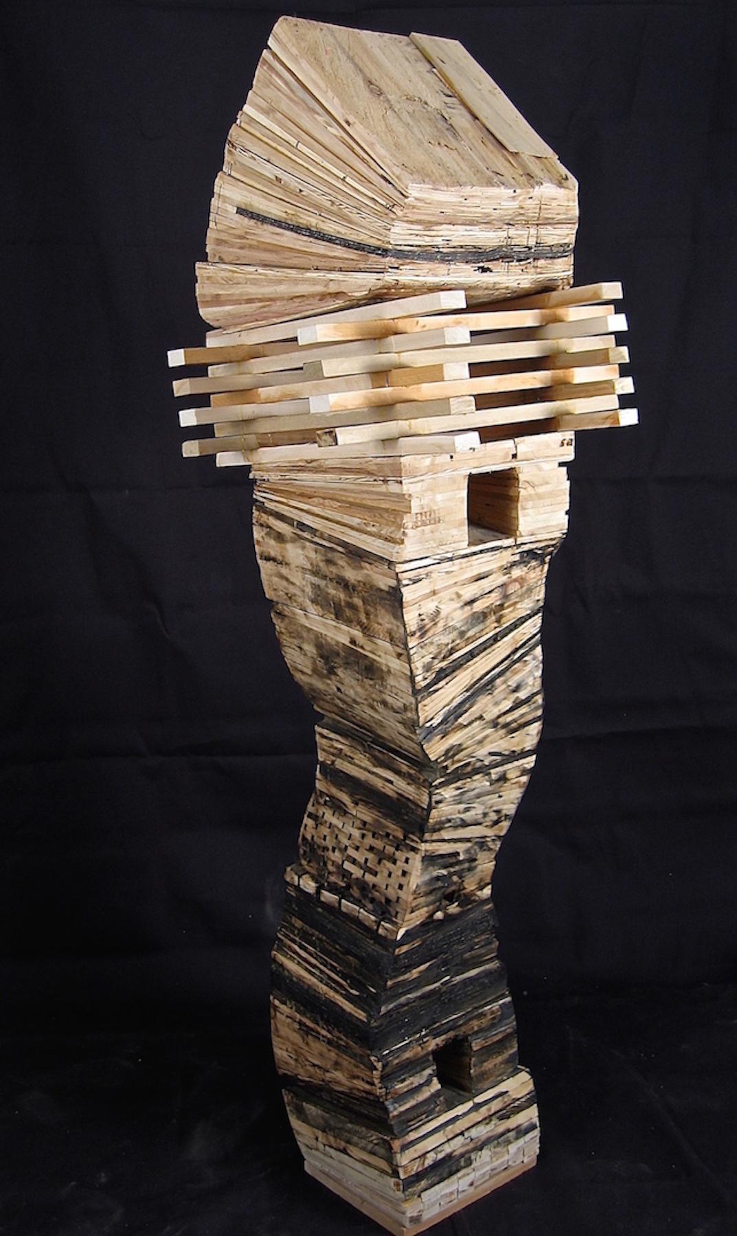 Leslie Zelamsky, Resurrection, wood and asphalt shingles, 65x19x19, $3,700