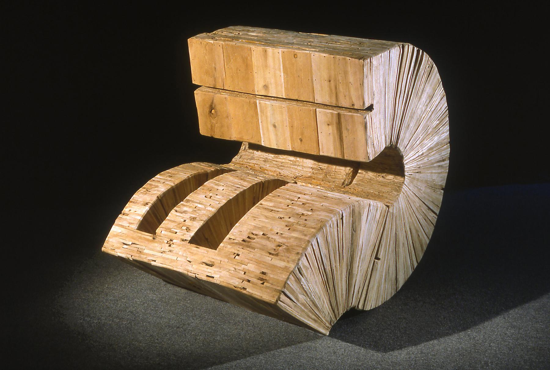 Leslie Zelamsky, Reintegration, wood, 38x48x38, $4,800