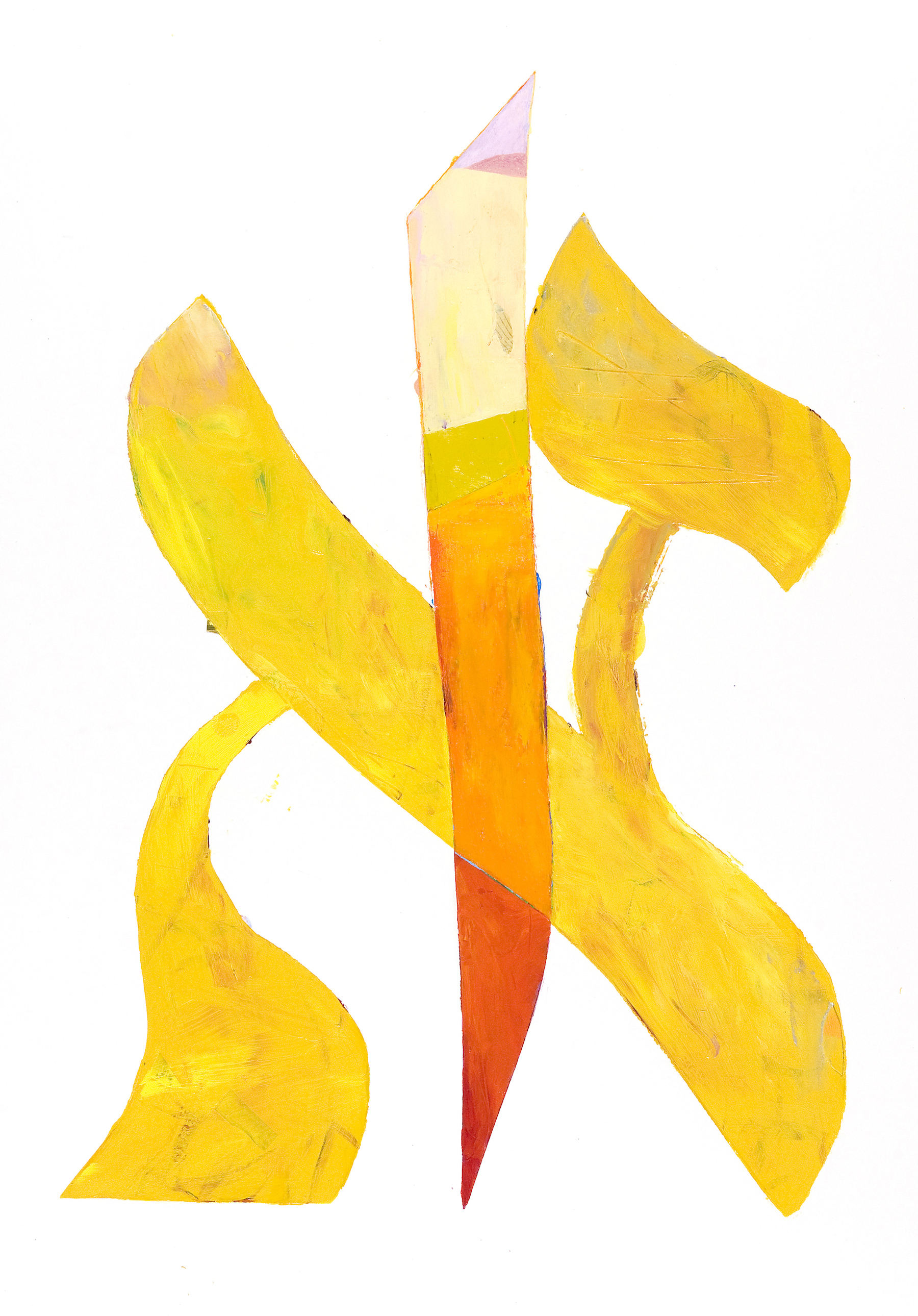 "Joel Moskowitz, "" Aleph / Alif,""    acrylic and collage on paper, 29""x23,""  $850"