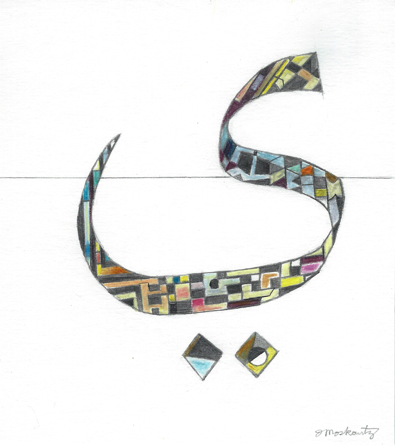 "Joel Moskowitz "" Yaa "" graphite and colored pencil, 6""x5"" $150"