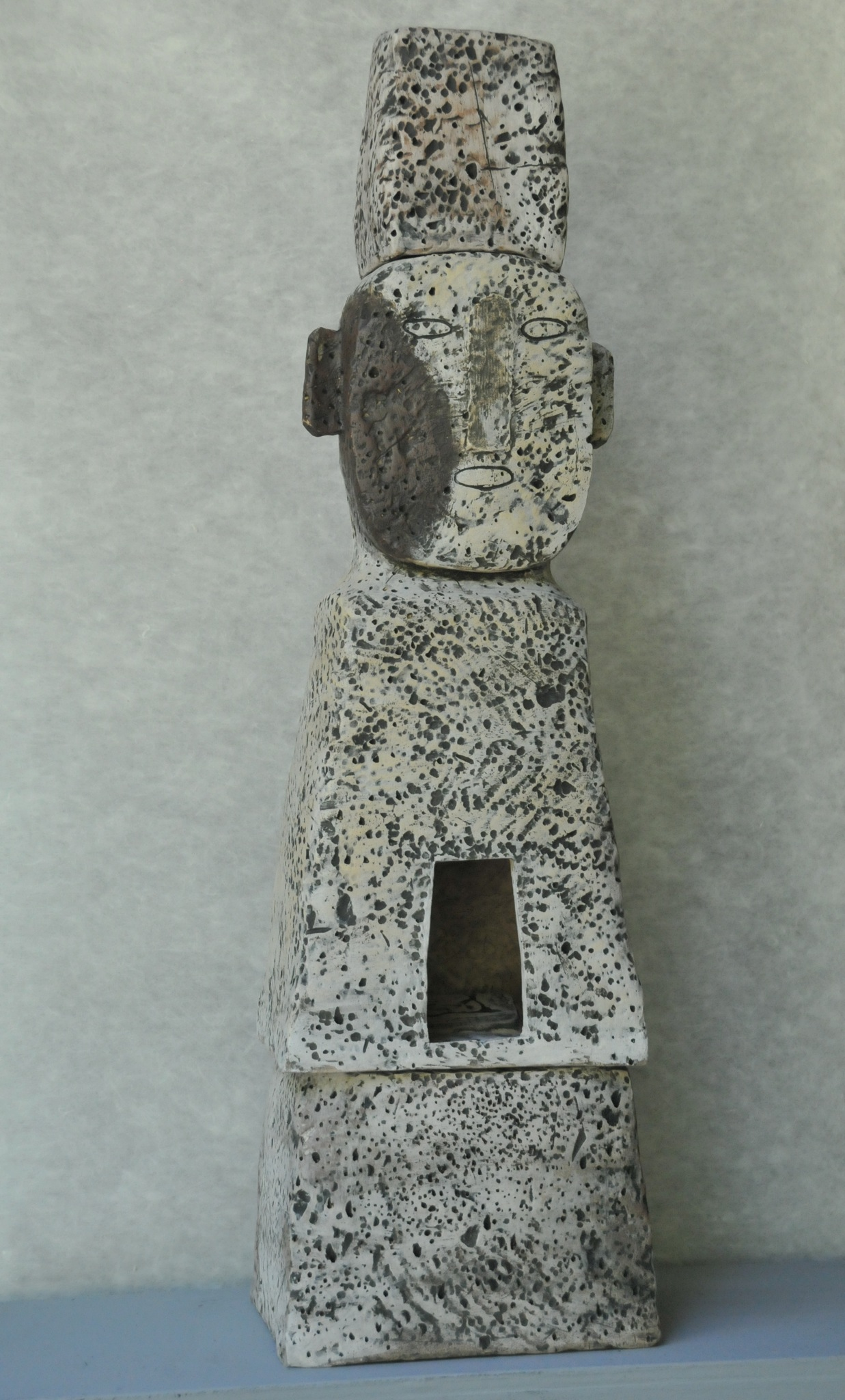 "Jaeok Lee  Lantern guardian with purple cheek , Clay, 9""x8""x32""  $1750"