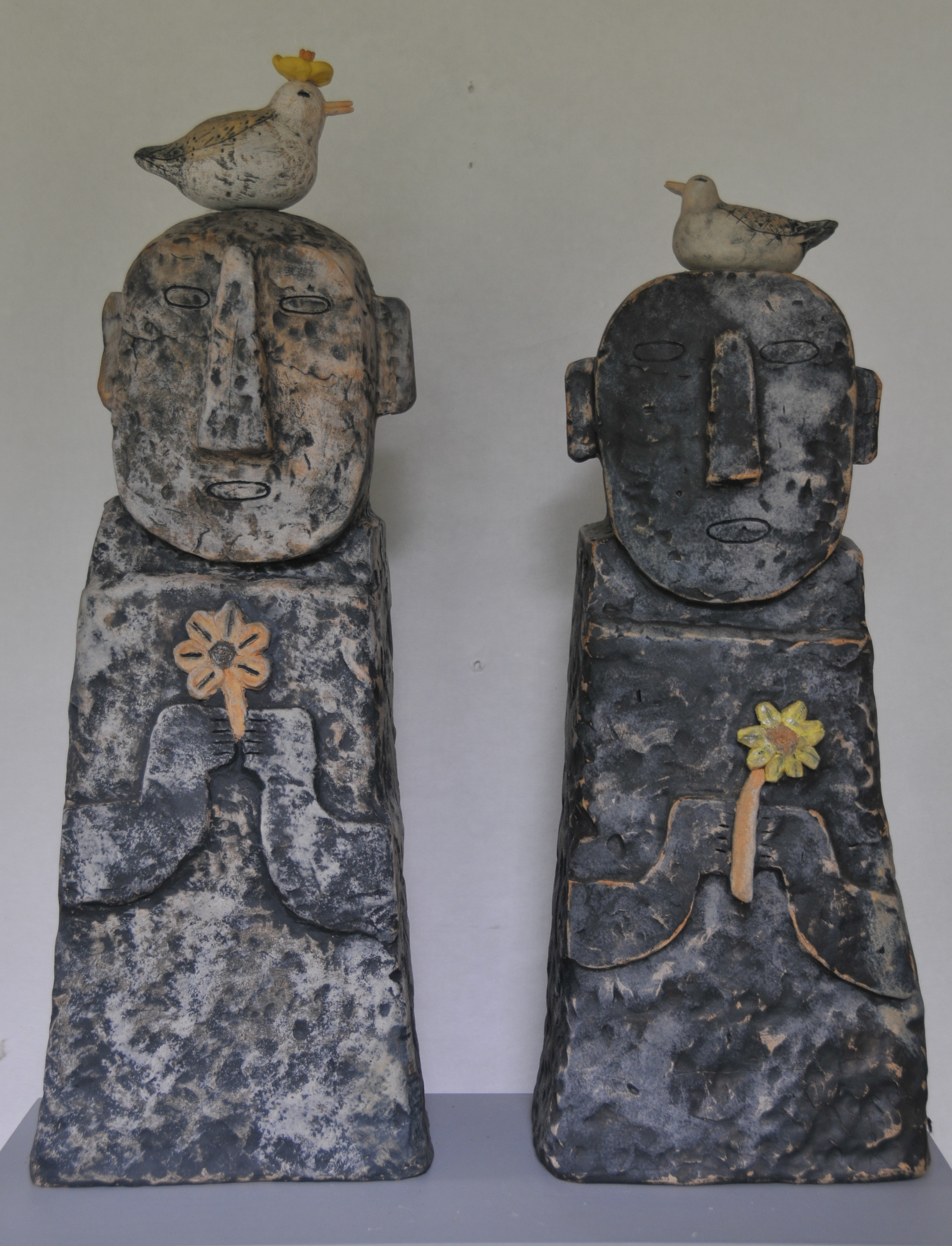 "Jaeok Lee  Guardians of peace , Clay9.5""x8""x29"" , 9.5""x6.5""x25""  $500 each"