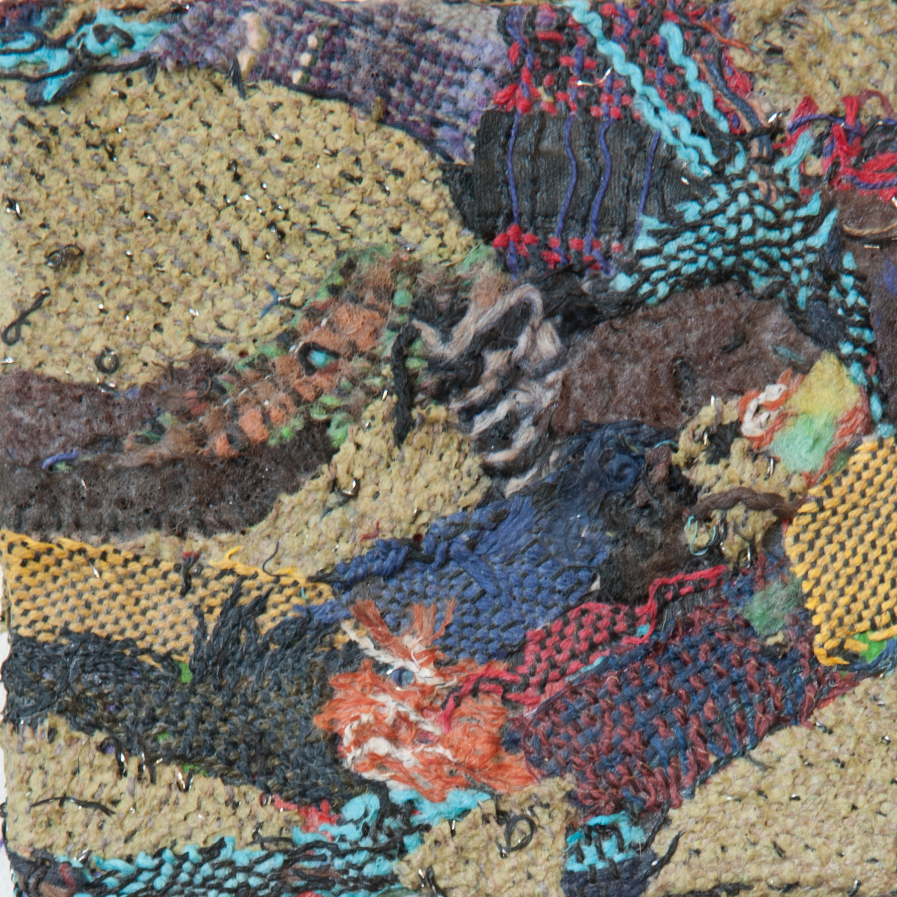 Woven Remnants #4 , Handwoven fabric on board, 6x6