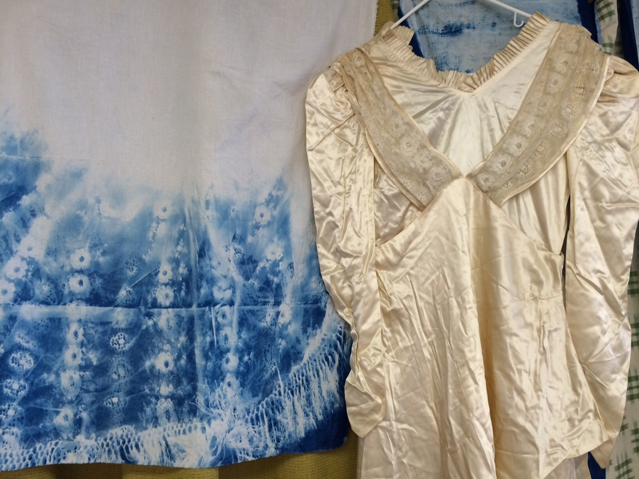 Nana's wedding dress and a cyanotype from the lacy fabric