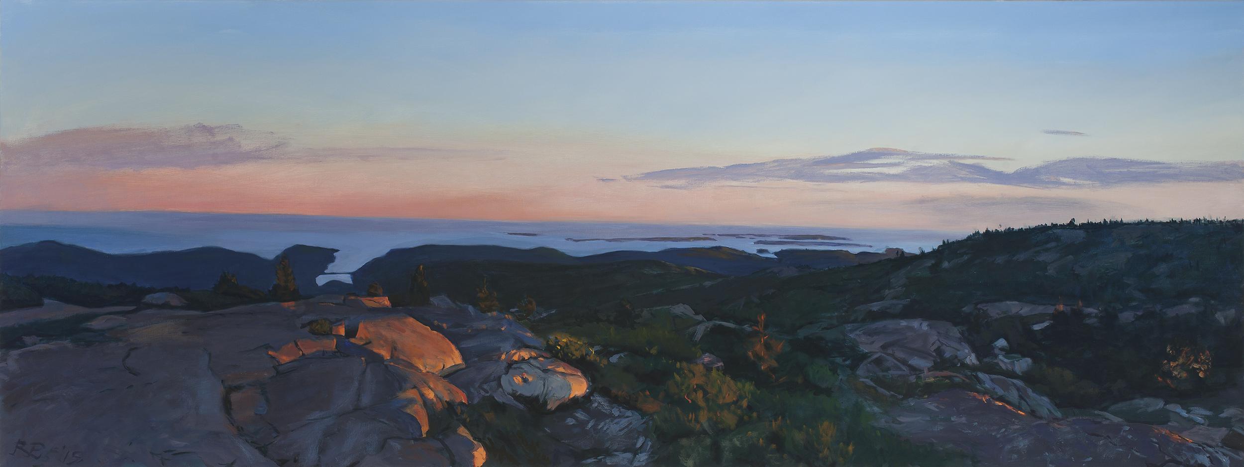 """The Summit at Dusk,"" oil on canvas, 36 x 96"""