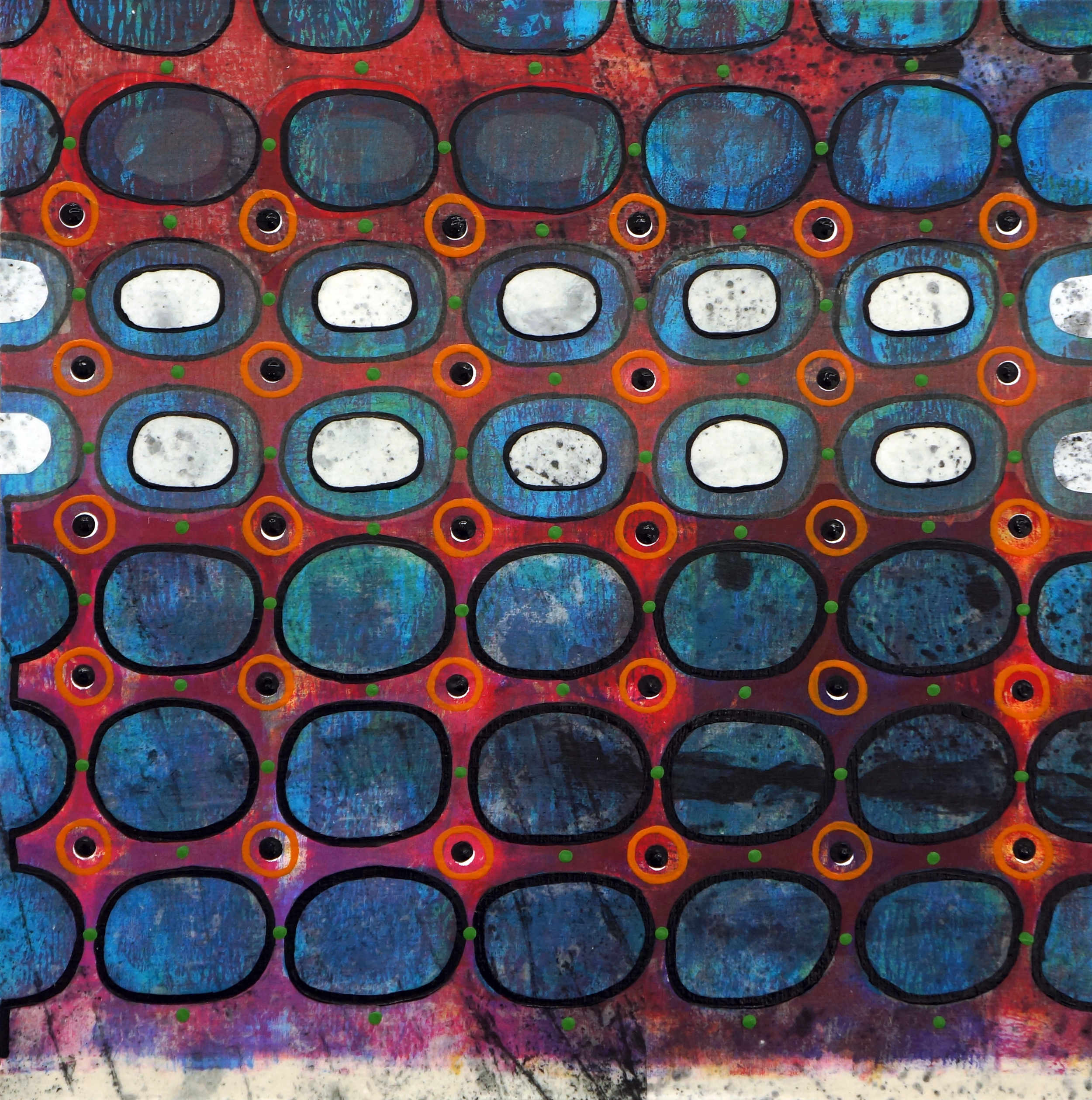 Jeanne Williamson , Bubbles and Cracks on Ice on Fences #1 , mixed media on cradled board, 14x14