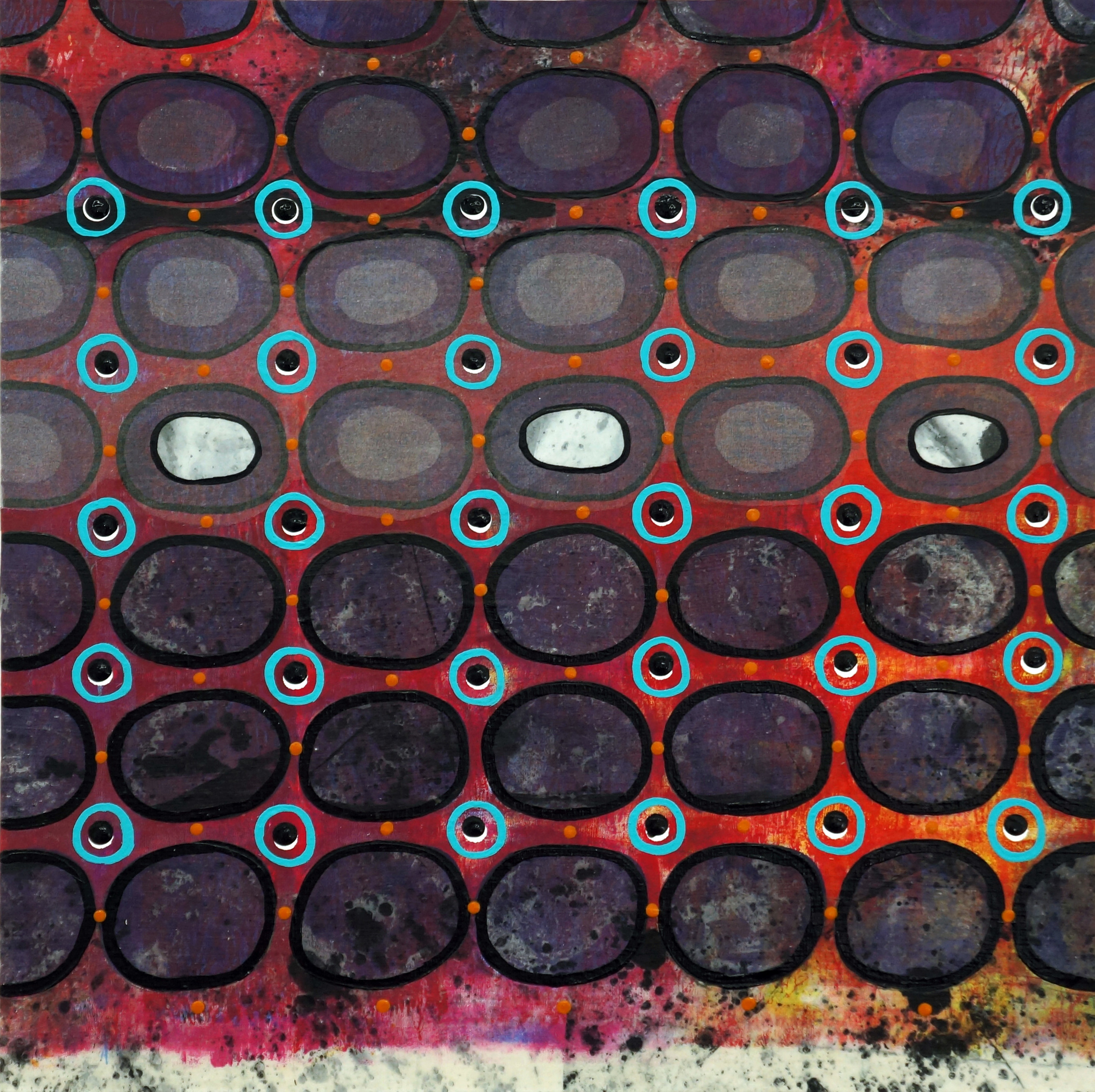 Jeanne Williamson, Bubbles and Cracks on Ice on Fences #7 , mixed media on cradled board, 14x14