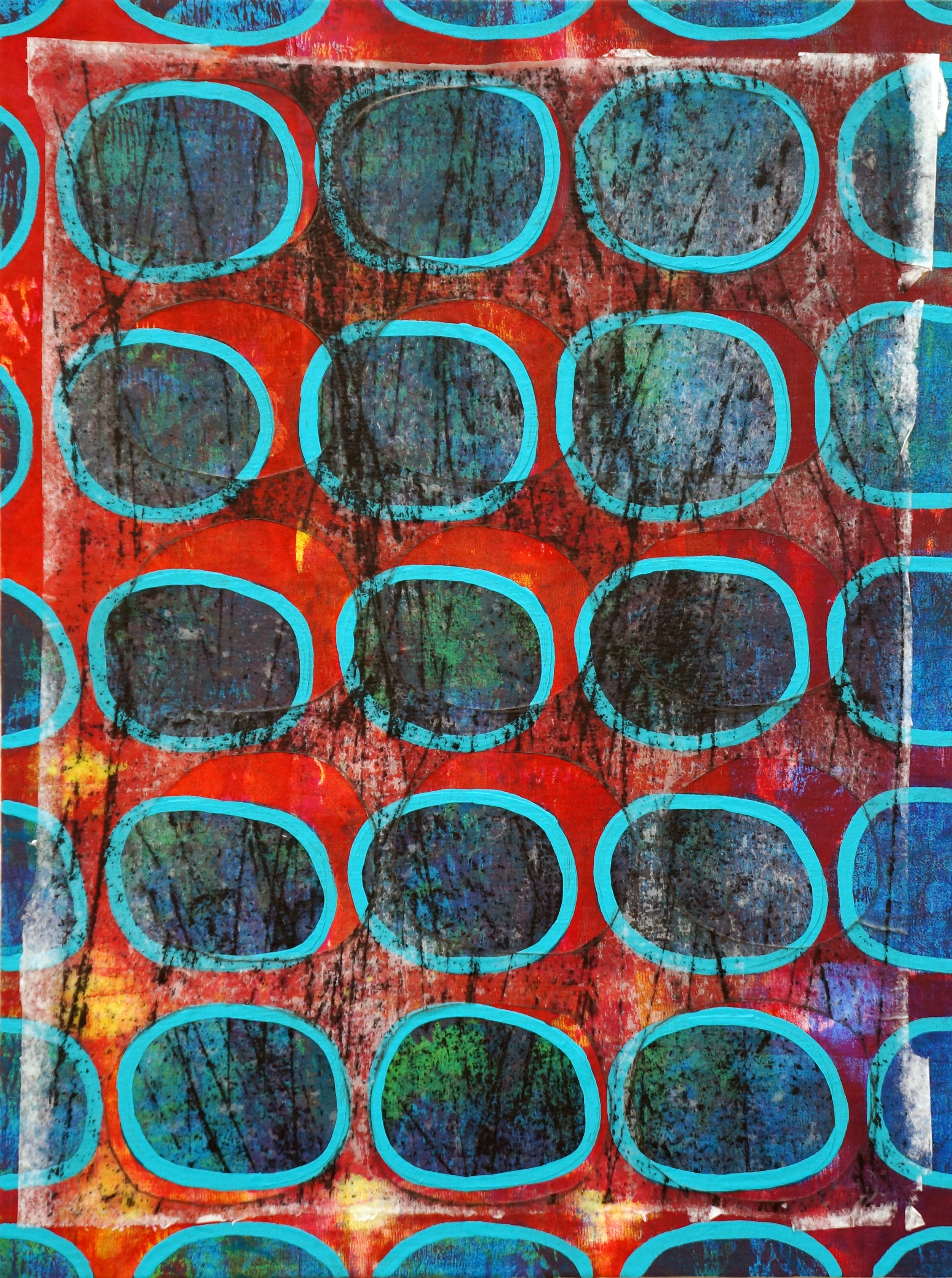 Jeanne Williamson, Bubbles and Cracks on Ice on Fences #2 , mixed media on cradled board, 14x14