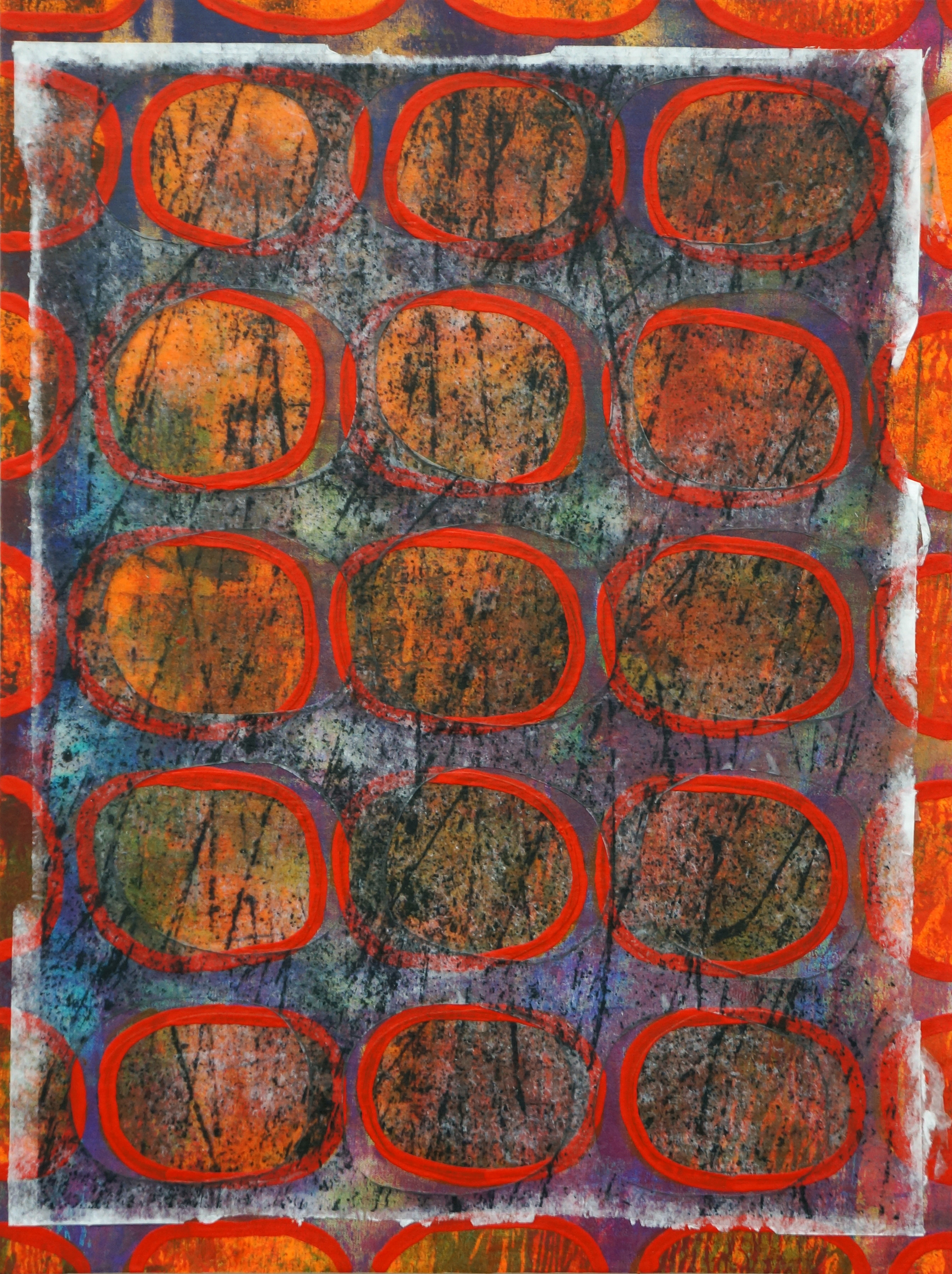Jeanne Williamson, Bubbles and Cracks on Ice on Fences #4 , mixed media on cradled board, 14x14