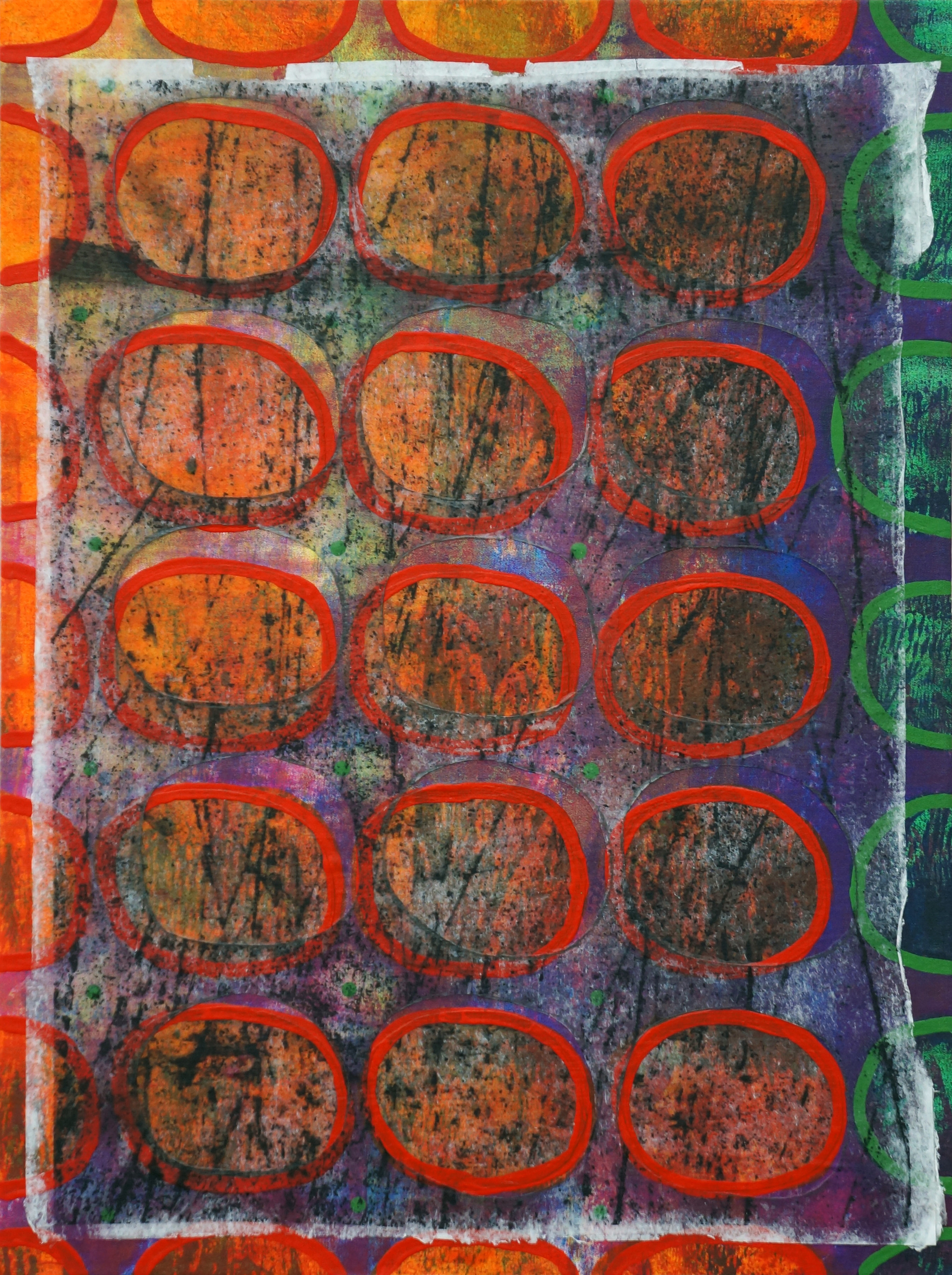 Jeanne Williamson, Bubbles and Cracks on Ice on Fences #5 , mixed media on cradled board, 14x14