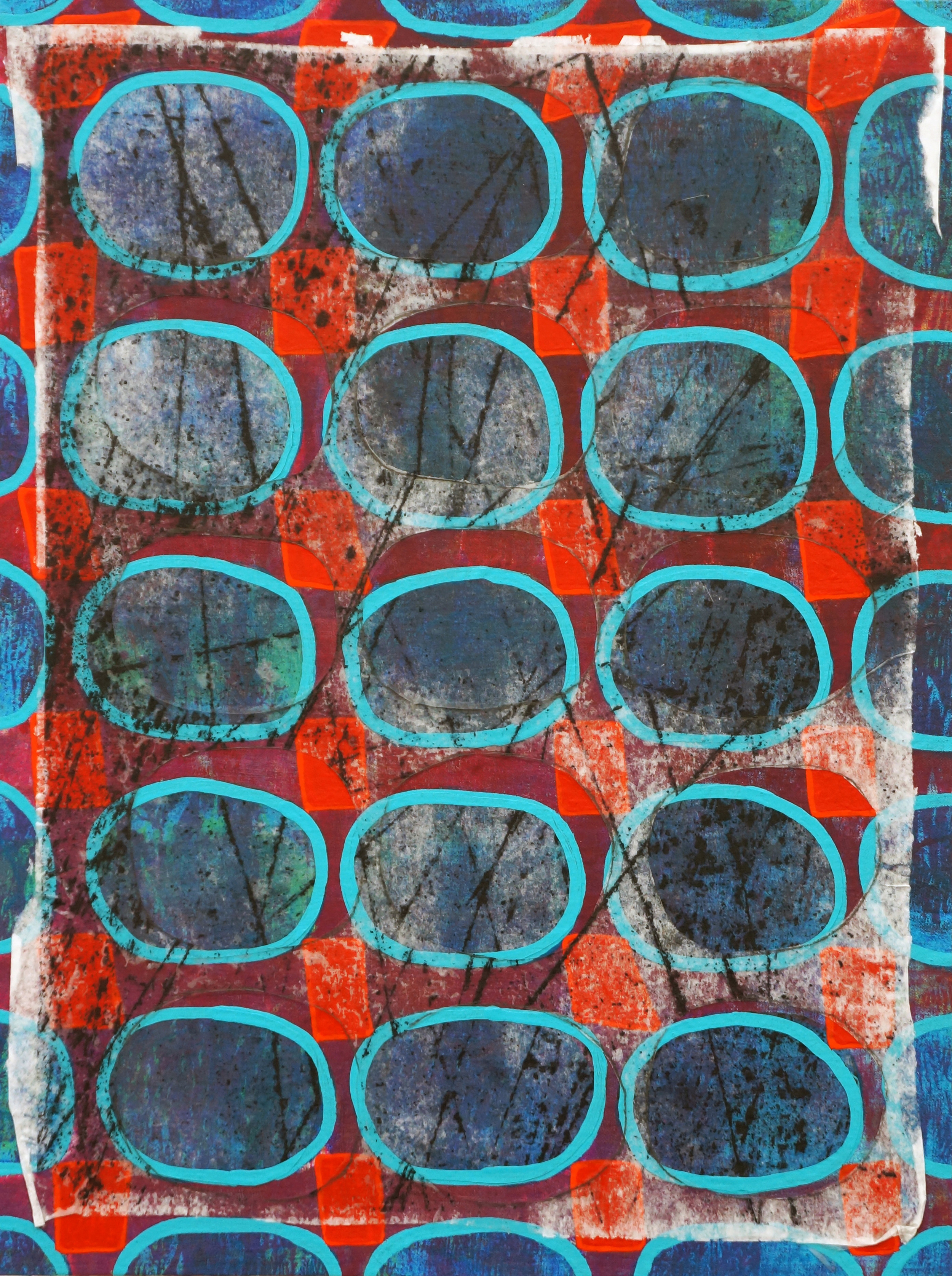 Jeanne Williamson, Skating Marks on Ice on Fences #1 , mixed media on cradled board, 12x9