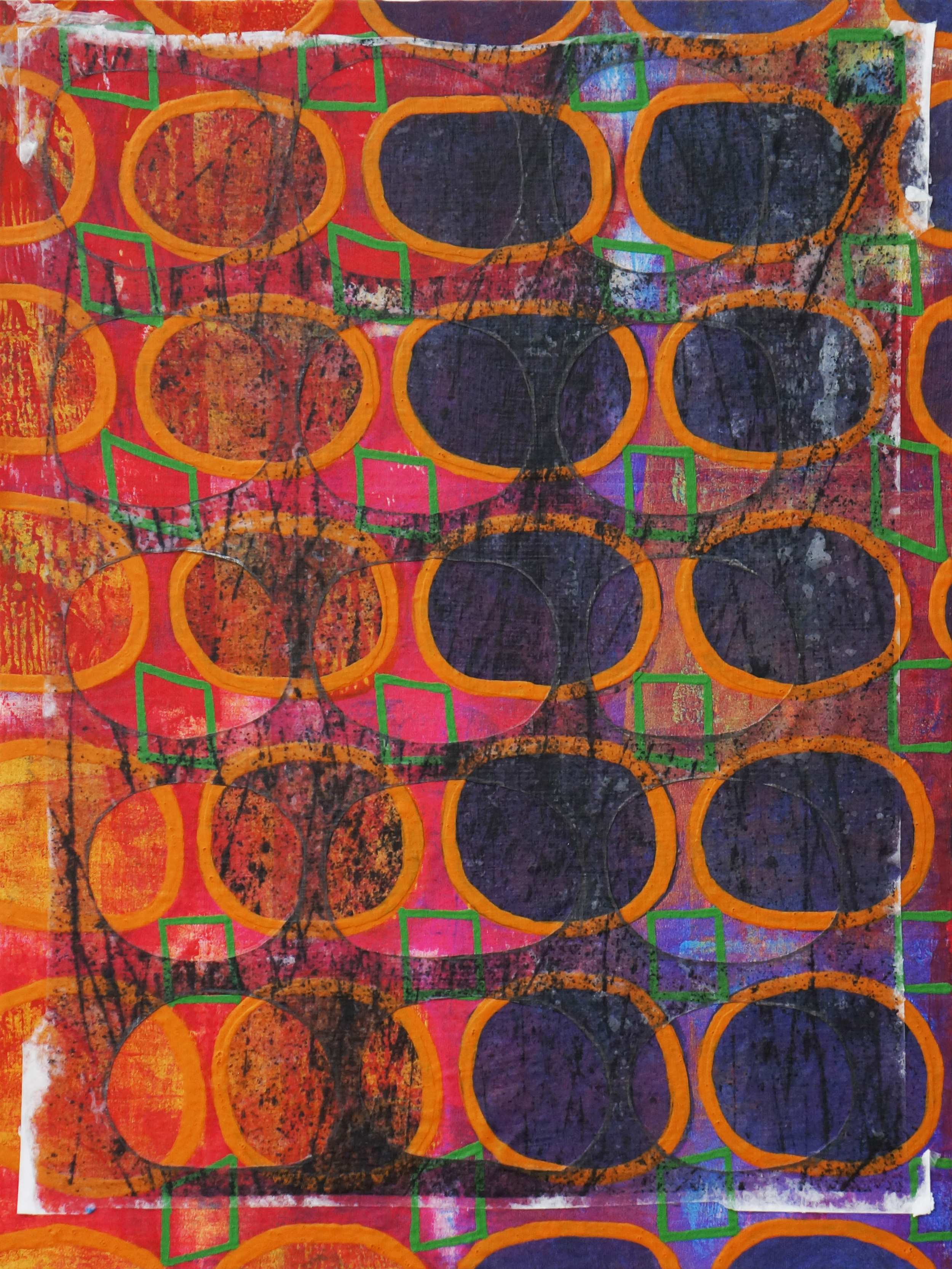 Jeanne Williamson, Bubbles and Cracks on Ice on Fences #10 , mixed media on cradled board, 14x14