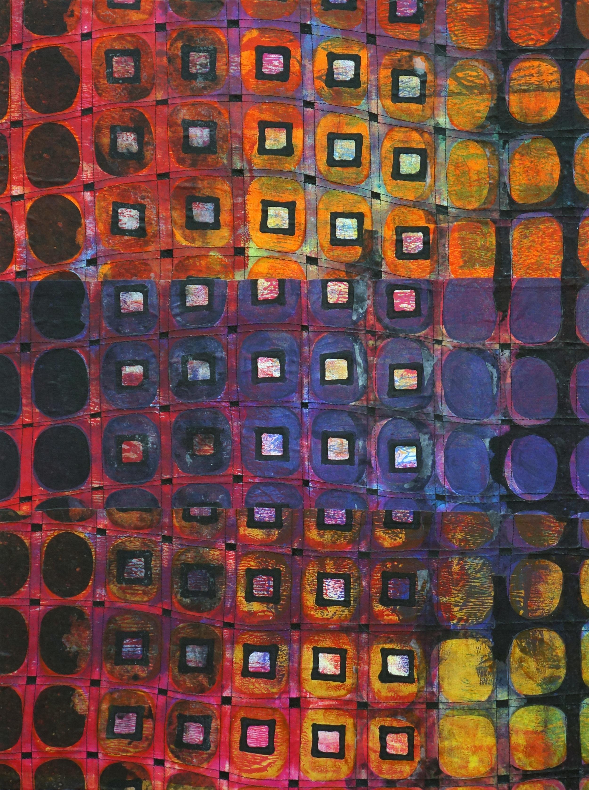 Jeanne Williamson, Street Ice on Fences #1 , mixed media on cradled board, 24x18