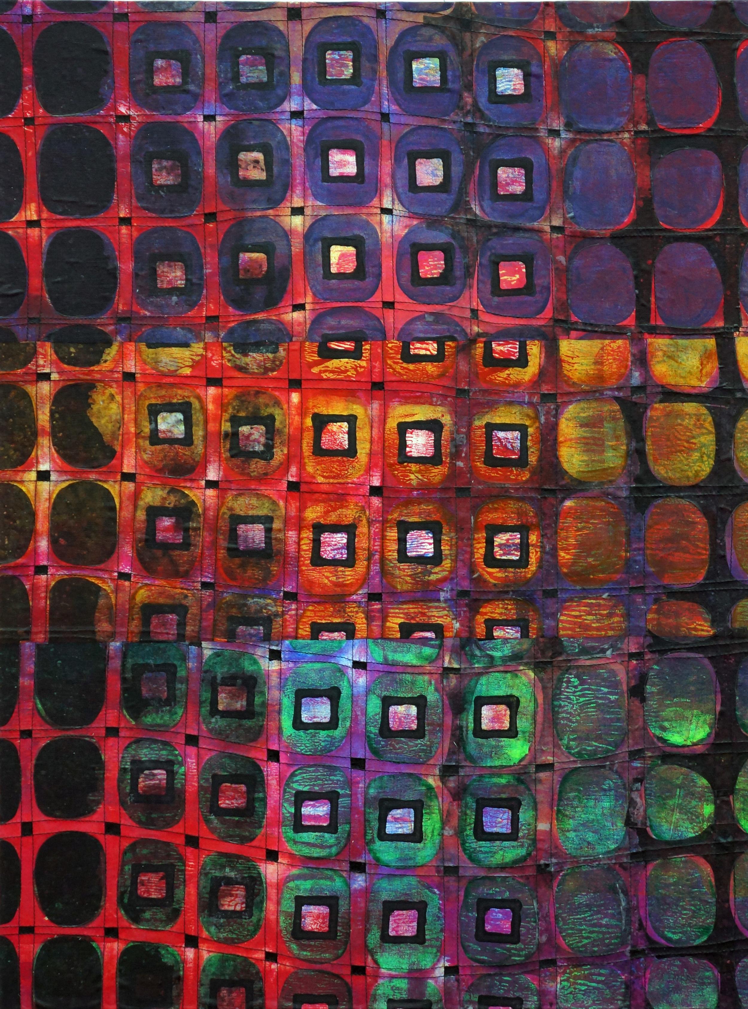Jeanne Williamson, Street Ice on Fences #2 , mixed media on cradled board, 24x18