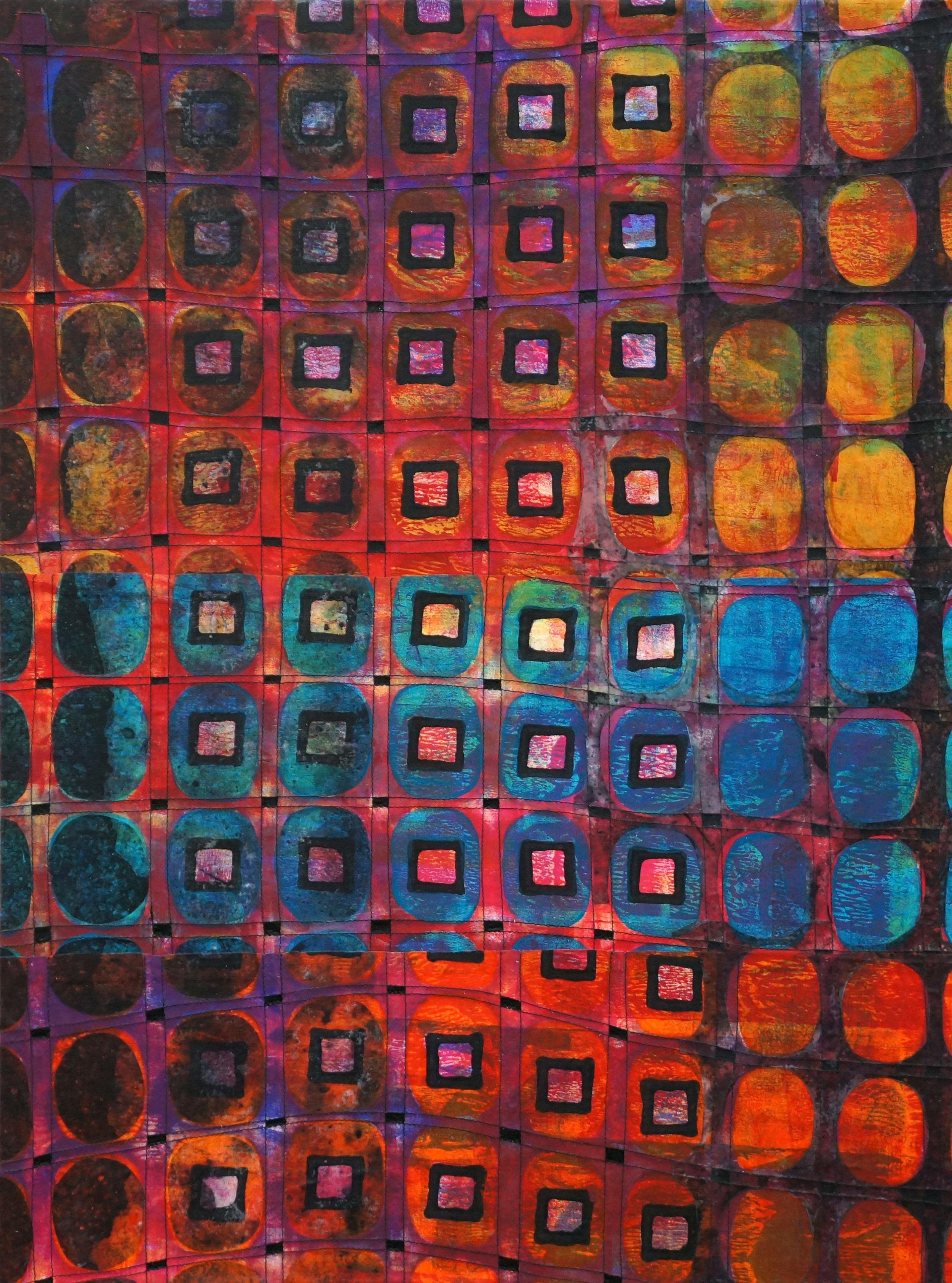 Jeanne Williamson, Street Ice on Fences #4 , mixed media on cradled board, 24x18