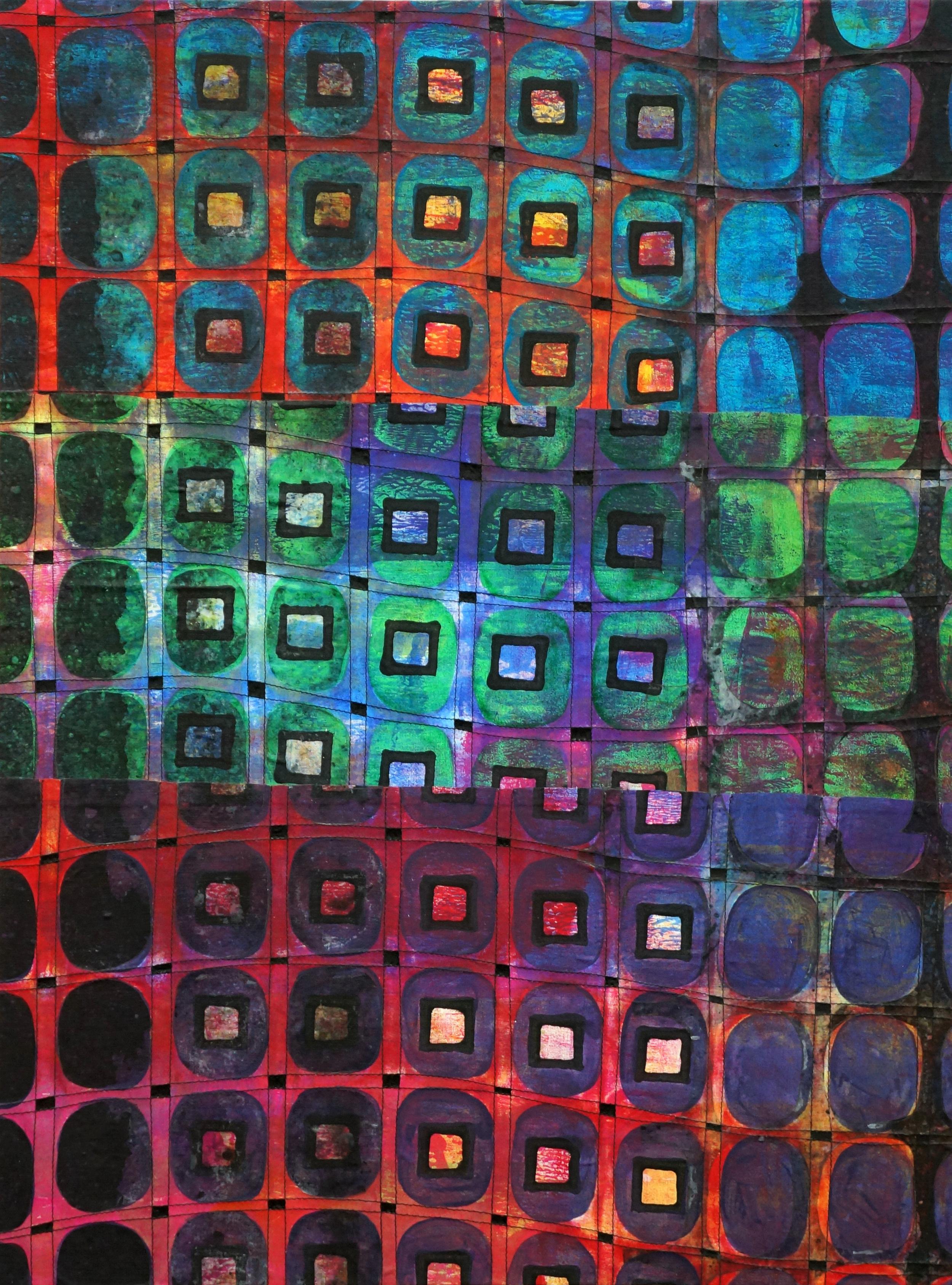 Jeanne Williamson, Street Ice on Fences #3 , mixed media on cradled board, 24x18