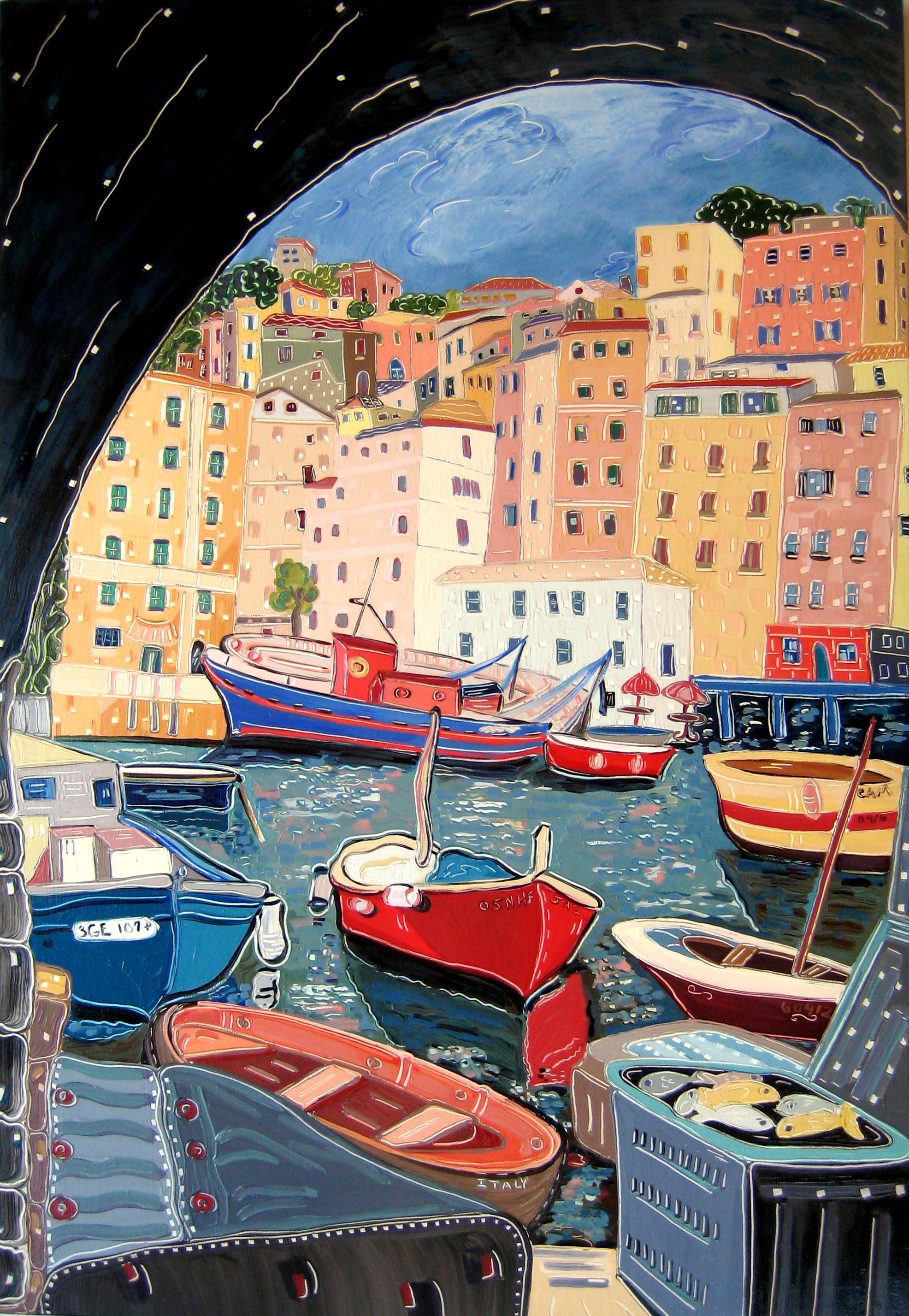 Through the Arch into Camogli , oil on panel, 32x22, $3,900