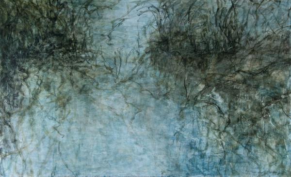 C. Clinton ,  Woodland Water Memory 1 , acrylic on canvas 30x48