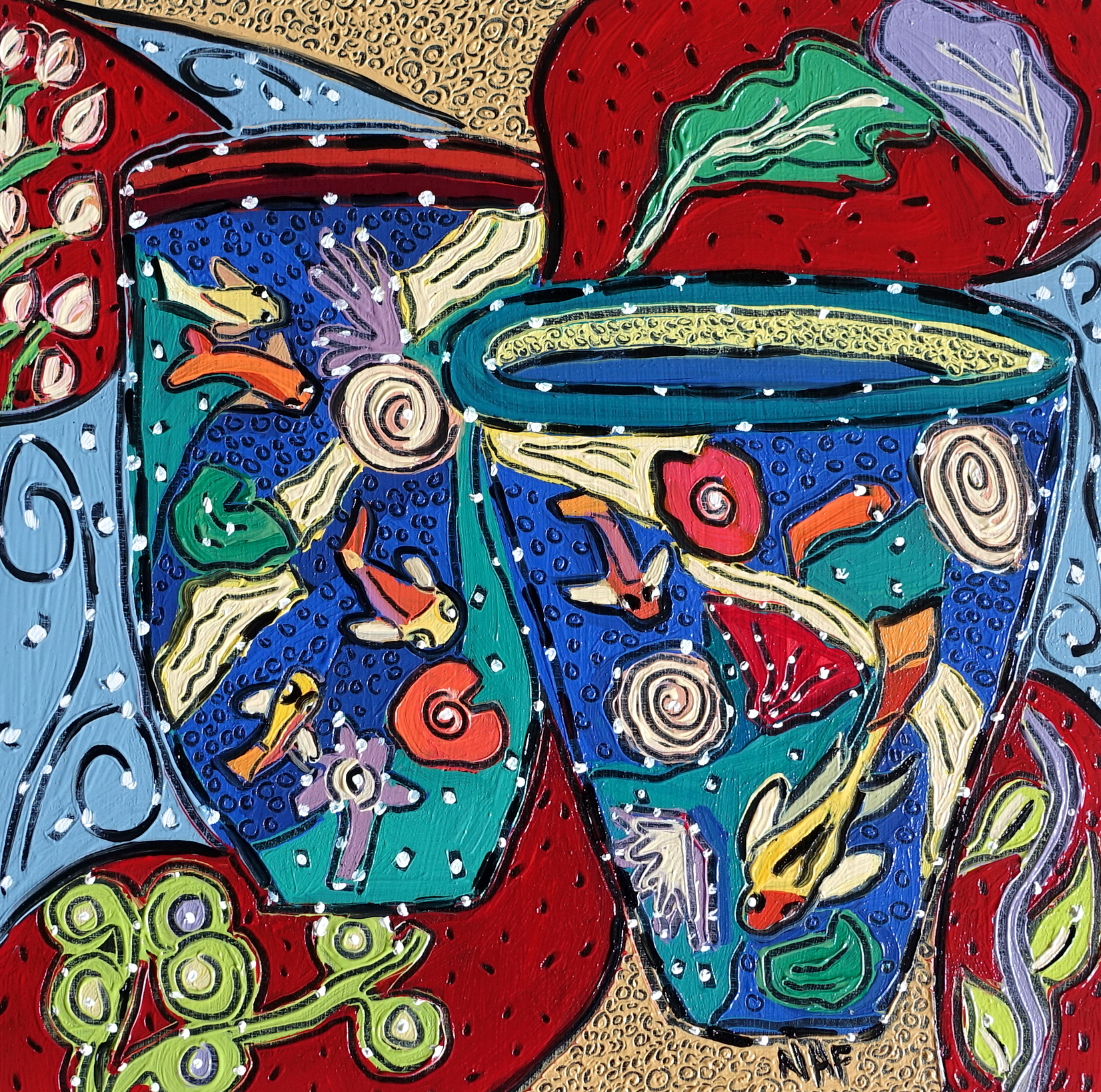Nan Hass Feldman ,  Vessels in Dreamtime 4 , oil on panel, 8x8