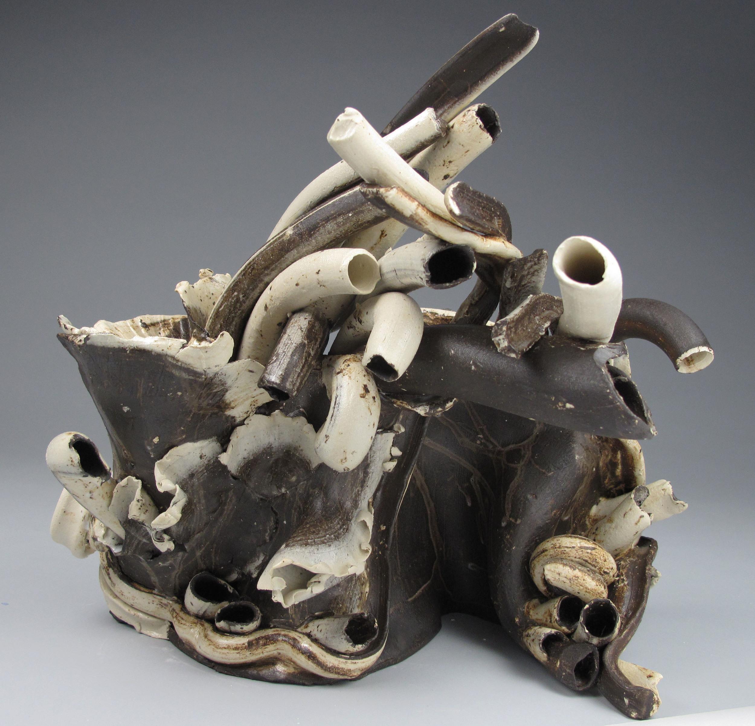 Sara Fine-Wilson ,  Forward Fold , mixed ceramic, 12x10x8