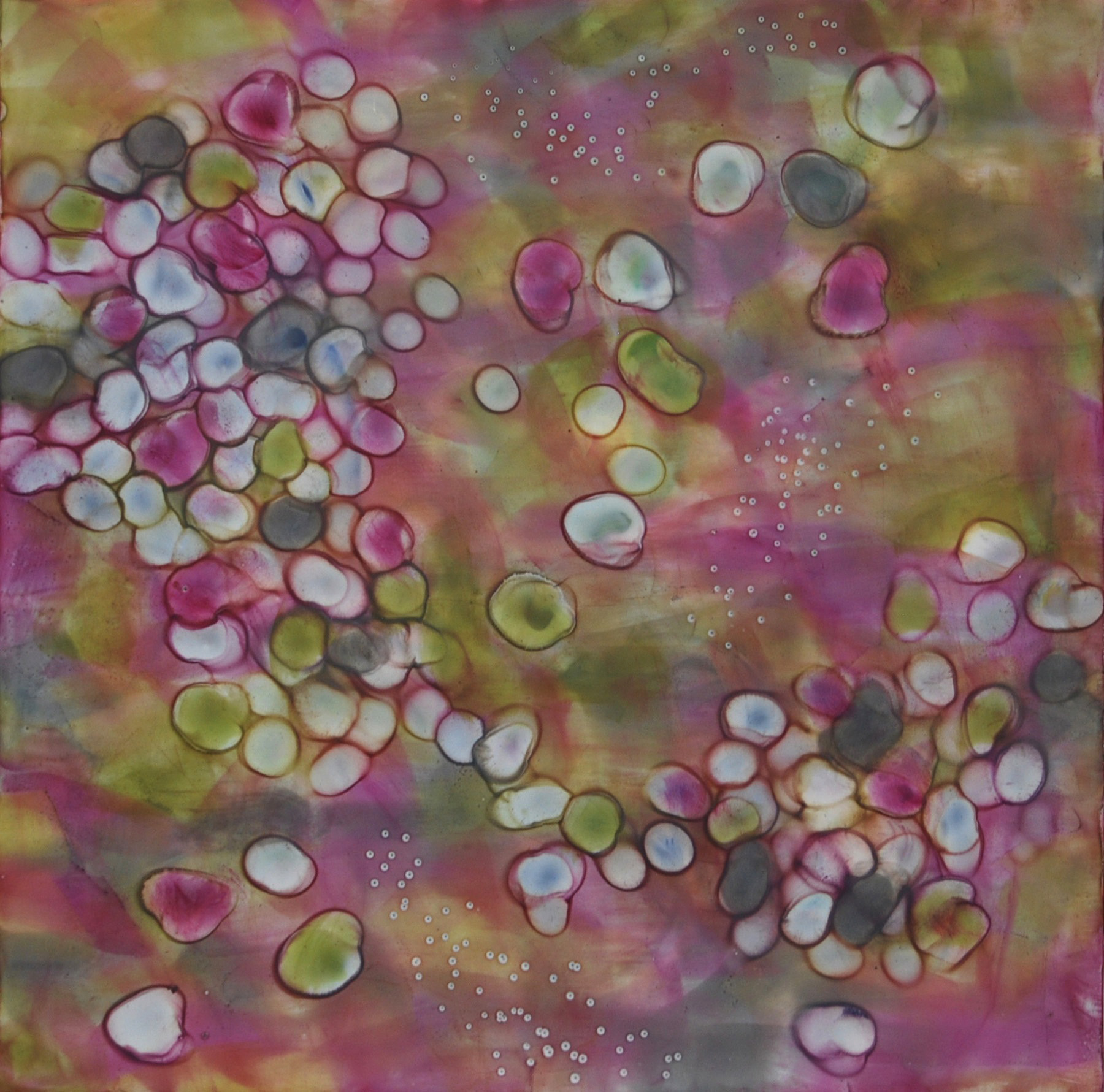 Kay Hartung , Bio Flow 4, encaustic, pastel on panel, 16x16